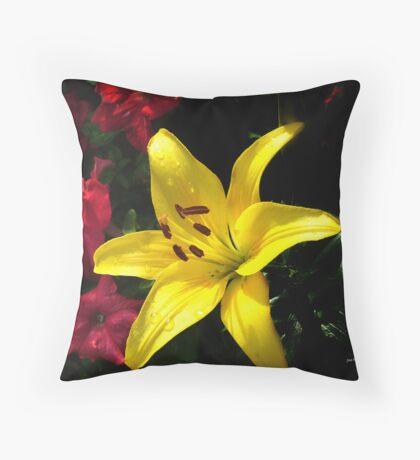 jaune et rouge Throw Pillow