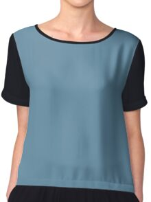 Niagara Blue / Rackley / Abyss Cool Grey Solid Pantone Color of The Year 2017 Chiffon Top