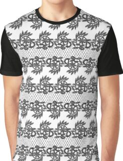 Black Lace Pattern Graphic T-Shirt