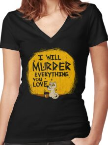 Ill Murder Everything You Love Cat Women's Fitted V-Neck T-Shirt
