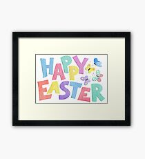 Happy Easter in fun colourful letters with butterflies watercolour painting. Framed Print