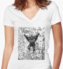 From Above Comic Women's Fitted V-Neck T-Shirt