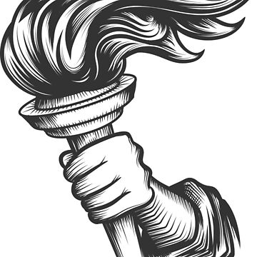 Human hand with torch engraving illustration by devaleta