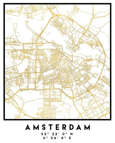Amsterdam netherlands city street map art posters by deificusart amsterdam netherlands city street map art by deificusart publicscrutiny Images