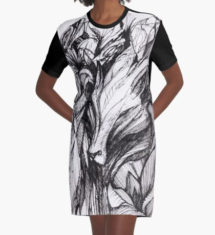 Wolf clad in a garden Graphic T-Shirt Dress