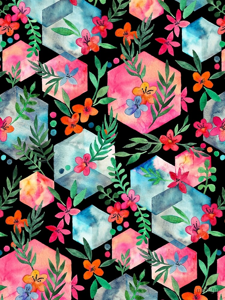 Whimsical Hexagon Garden on black by micklyn