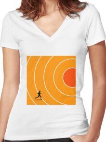 running target goal result success Women's Fitted V-Neck T-Shirt