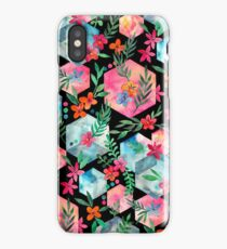 Whimsical Hexagon Garden on black iPhone Case/Skin