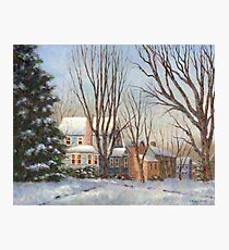 Blue House in Winter Photographic Print