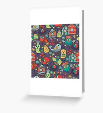 Abstract colorful hand drawn floral pattern design Greeting Card