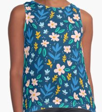 Colorful flowers on deep blue background  Contrast Tank