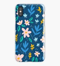 Colorful flowers on deep blue background  iPhone Case
