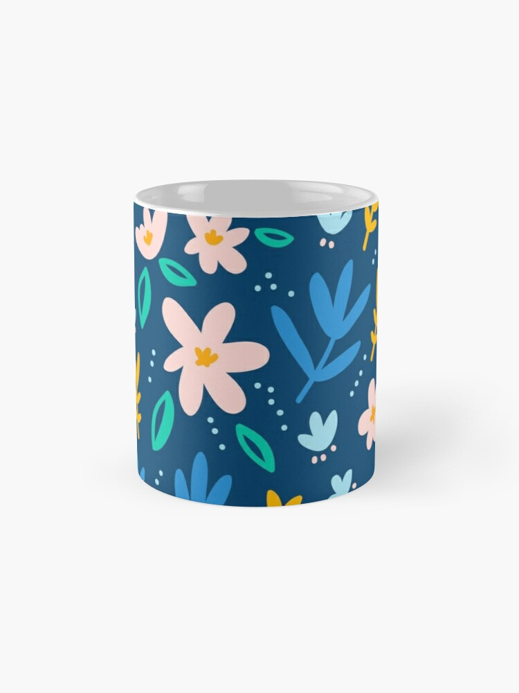 Alternate view of Colorful flowers on deep blue background  Mug