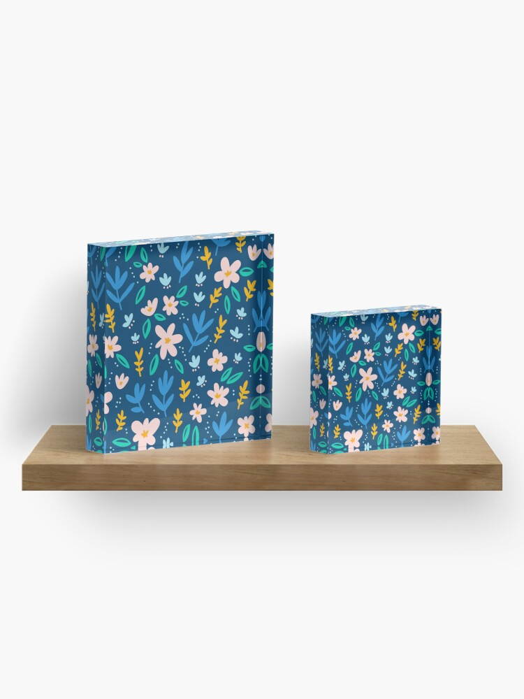 Alternate view of Colorful flowers on deep blue background  Acrylic Block