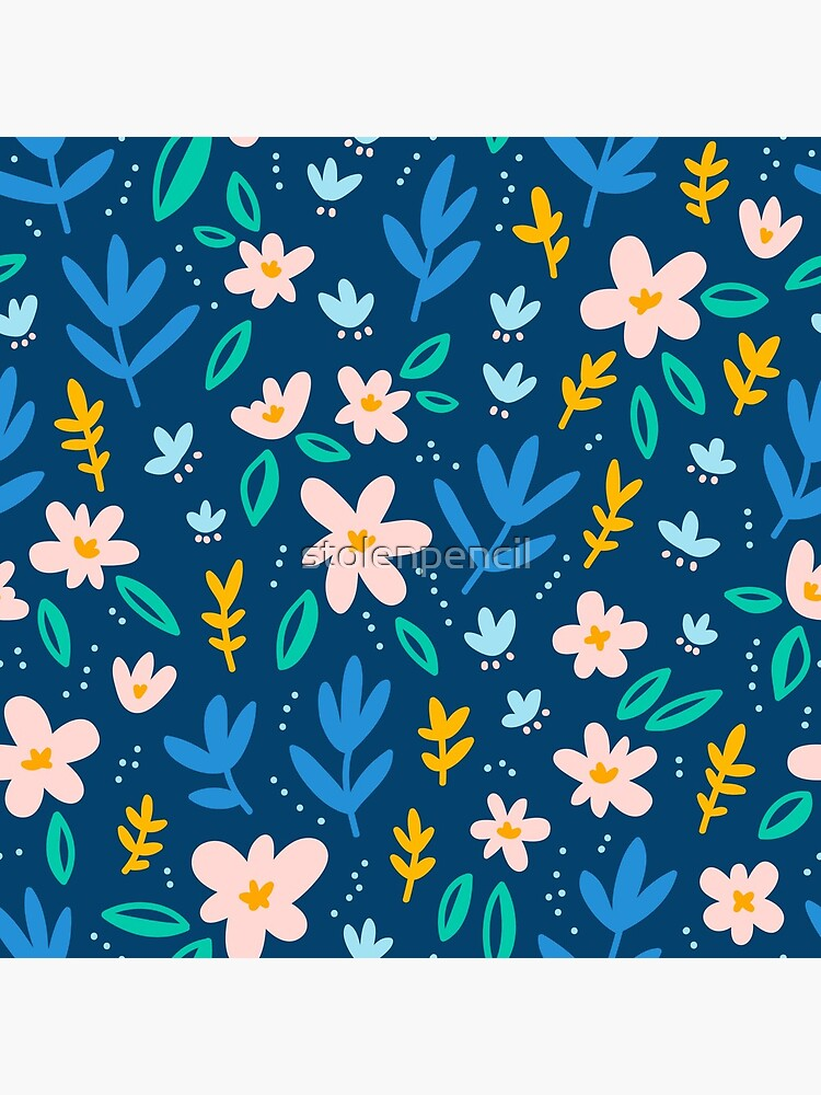 Colorful flowers on deep blue background  by stolenpencil