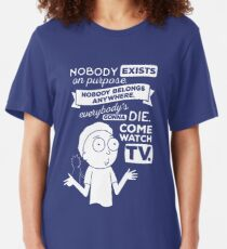 Rick and Morty Schwifty Wubba Lubba Fair Use Nobody Exists on Purpose Slim Fit T-Shirt
