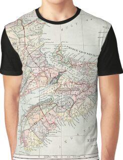 Vintage Map of Nova Scotia  Graphic T-Shirt