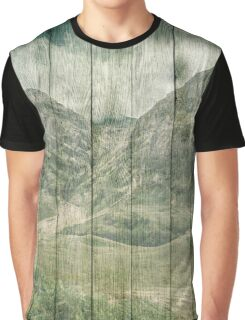 Rustic Country Wood Mountains Landscape Graphic T-Shirt