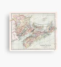 Vintage Map of Nova Scotia  Canvas Print
