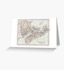 Vintage Map of Nova Scotia  Greeting Card