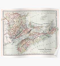 Vintage Map of Nova Scotia  Poster