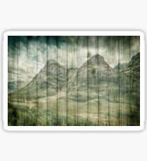 Rustic Country Wood Mountains Landscape Sticker