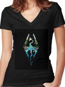 Skyrim - Dragonborn Logo Edit Women's Fitted V-Neck T-Shirt