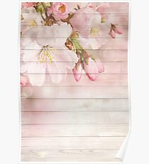 Romantic Vintage Shabby Chic Floral Wood Pink Poster