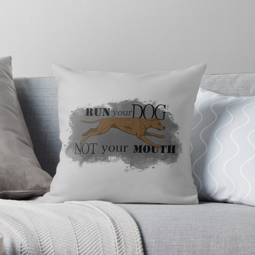 Run Your Dog Not Your Mouth American Pit Bull Terrier Rust Throw Pillow