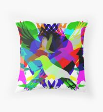 Psychedelic Crows Throw Pillow