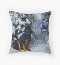 GERMAN SHEPHERD OUT IN SNOW PILLOW AND OR TOTE BAG Throw Pillow