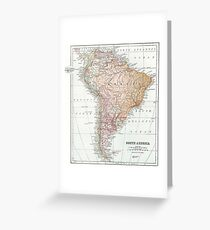 Vintage Map of South America Greeting Card