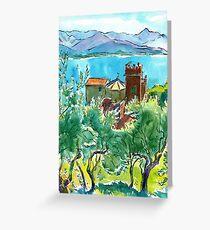 View of the sea and Monastery of Santa Croce, Liguria Greeting Card