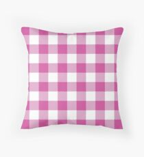Bright Pink / Persian Rose Plaid Pattern Throw Pillow