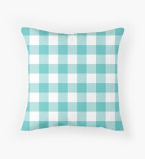 Turquoise / Medium Turquoise Plaid Pattern Throw Pillow