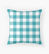 Teal / Light Sea Green Plaid Pattern Throw Pillow