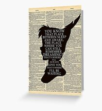 Peter Pan Over Vintage Dictionary Page - That Place Greeting Card