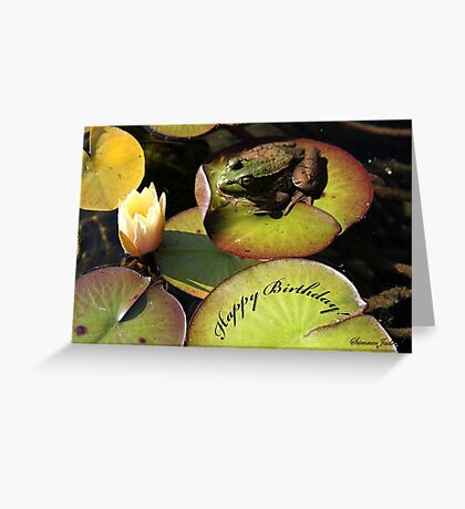 Frog ~  He Almost Sunk the Lily Pad Greeting Card