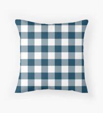 Navy Blue / Prussian Blue Plaid Pattern Throw Pillow