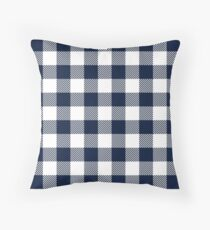 Dark Blue / Maastricht Blue Plaid Pattern Throw Pillow