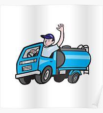 Baby Tanker Truck Driver Waving Cartoon Poster