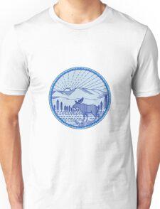 Moose River Flat Mountains Sunburst Circle Mono Line Unisex T-Shirt