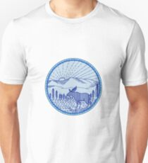 Moose River Flat Mountains Sunburst Circle Mono Line Unisex T-Shirt