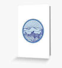 Moose River Flat Mountains Sunburst Circle Mono Line Greeting Card