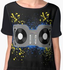 DJ Turntables Blue and Yellow Women's Chiffon Top
