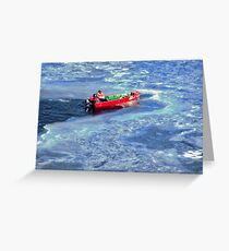 Red Boat in Blue Ice Greeting Card