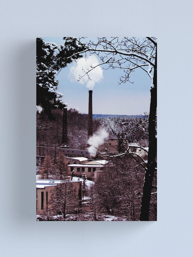 Alternate view of factory country winter card lake house  tree Canvas Print