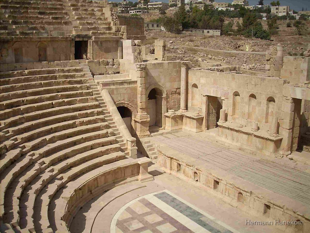 Roman ruins - The Theatre, Jerash, Jordan by Hermann Hanekom