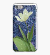 white tulip, blue background 03/20/17 iPhone Case/Skin