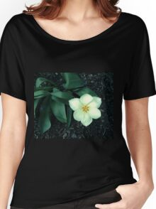 white tulip, dark background 03/20/17 Women's Relaxed Fit T-Shirt
